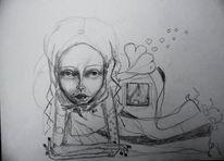Figurativ abstrakt, Skizze, Mädchen, Zeichnungen