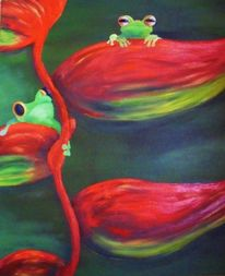 Neugier, Blüte, Frosch, Malerei