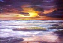 Ölmalerei, Untergang, Wasser, Landschaft