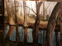 Baum wasser licht, Malerei, Pflanzen