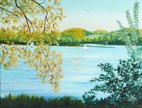 Landschaftsmalerei, Sonnenschein, See, Acrylmalerei