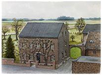 Bauernhof, Haus, Tuschmalerei, Malerei