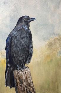 Gemälde, Chitosantempera, Krähe, Vogel