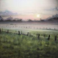 Niederrhein, Weiden, Morgen, Nebel