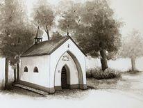 Zeichnung, Kapelle, Hardt, Zeichnungen