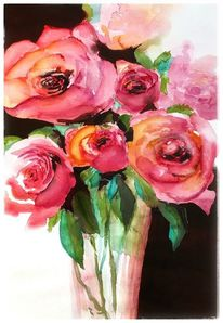 Aquarellmalerei, Rose, Stillleben, Aquarell