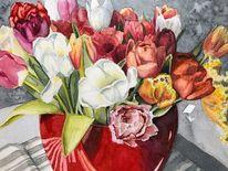 Tulpen, Blumen, Aquarellmalerei, Aquarell
