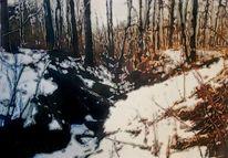 Tuschmalerei, Schnee, Wald, Aquarellmalerei