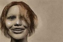 Mädchen, Freude, Gesicht, Digitale kunst