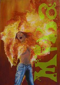 Acrylmalerei, Feuer, Figur, Frau