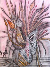 Modern, Acrylmalerei, Bunt, Kohlezeichnung