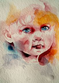 Kinderportrait, Kind, Aquarellmalerei, Portrait