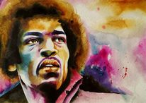 Jimmy hendrix, Portait jimmy hendix, Aquarell, Portrait