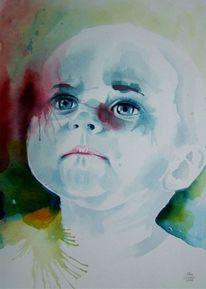 Gesicht, Aquarellmalerei, Kind, Malerei