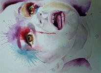 Kind, Gesicht, Aquarellmalerei, Malerei