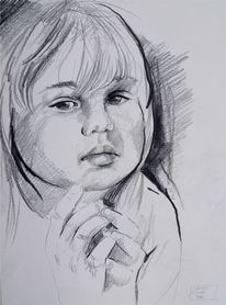 Kind, Bleistiftskizze kind, Pencildrawing child, Kinderportrait bleistiftzeichnung