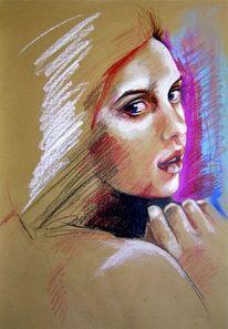 Portrait, Pastellmalerei, Pastellskizze, Zeichnungen