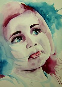 Niedliches kind, Beatiful, Lippen, Aquarellmalerei