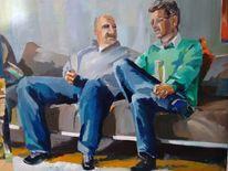 Nachdenklich, Mit weißbier, Zwei männer, Malerei
