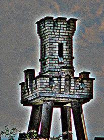 Warten, Turm, Architektur, Digitale kunst
