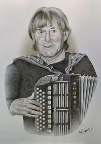 Bleistiftzeichnung, Portrait, Musikinstrument, Airbrush