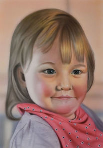 Airbrush, Kind, Portrait, Malerei
