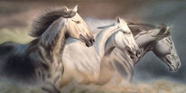 Airbrush, Acrylmalerei, Pferde, Natur