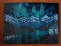 Polarlicht, Landschaft, Berge, Ölmalerei