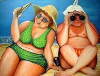 Grüße an dino, Strand, Urlaub, Karikatur