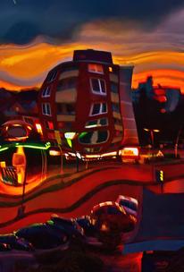 Stadt, Nacht, Digitale kunst,