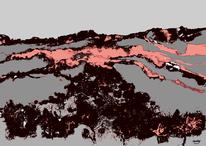 Digital, Berge, Atmosphäre, Abstrakt
