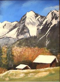 Landschaft, Acrylmalerei, Schnee, Berge