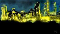 Nacht, Stadt, Digitale kunst