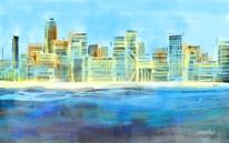 Sommer, Promenade, Stadt, Digitale kunst