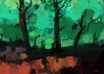 Natur, Modern, Abstrakte kunst, Wald