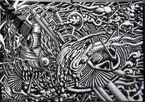 Gekritzel, Zeichnung, Surreal, Tuschmalerei
