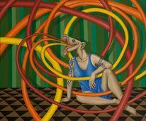 Trompetenfrau, Surreal, Malerei