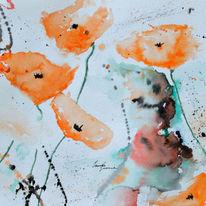 Flora, Blumen mit aqarell, Oranger mohn, Orginal gemälde