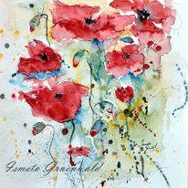 Blumenkunst, Flora, Sommerblumen, Blumen in aquarelle