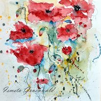 Klatschmohn, Blumenkunst, Sommerblumen, Blumen in aquarelle