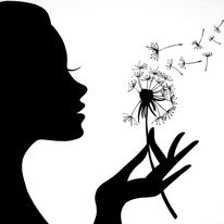 Silhouette, Blumen, Illustration, Hand