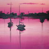 Dämmerung, Landschaft, Pink, Meer