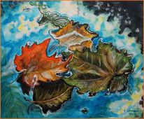 Regentag, Stillleben, Malerei, Blätter
