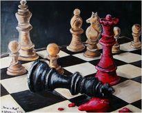 Malerei, Dame, König, Rot