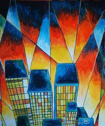 Acrylmalerei, Malerei, Farben, Stadt