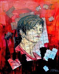 Bunt, Portrait, Puzzle, Malerei