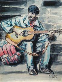 Mann, Reise, Gitarre, Freiheit