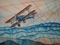 Himmel, Berge, Flugzeug, Malerei