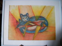Orange, Geometrisch abstrakt katze, Katze, Gelb