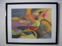 Gelb, Rot geometrisch abstrakt, Aquarellpaier arches, Aquarellmalerei